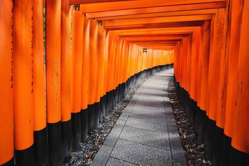 Foto auf Leinwand Rot vermillion Torii path at Fushimi Inari Taisha Shrine in Kyoto, Japan