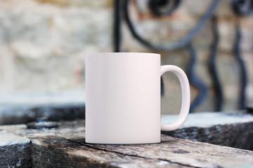 White blank coffee mug mock up to add custom design/quote.