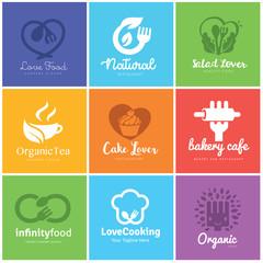 Food and beverages logo design set, Love food and cake logo, organic food logo template.