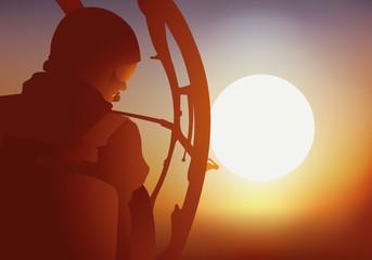 Hélicoptère Recherche - pilote - Coucher de soleil