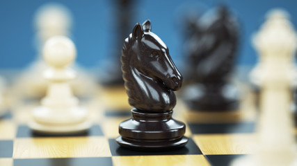 Chess knight on the chessboard. A key figure in the game