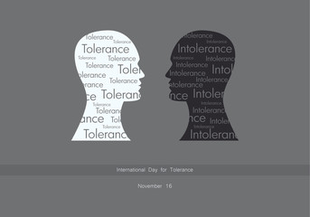 International Day for Tolerance vector. Silhouettes of two heads. Important day