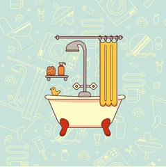 Bath equipment colorful concept