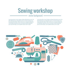 Vector colorful sewing workshop concept.