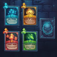 Set spell cards of fiery gaze, poison rain, ice bomb, ring of li