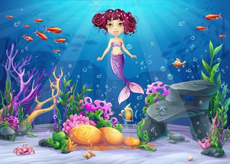 Beautiful brunette mermaid