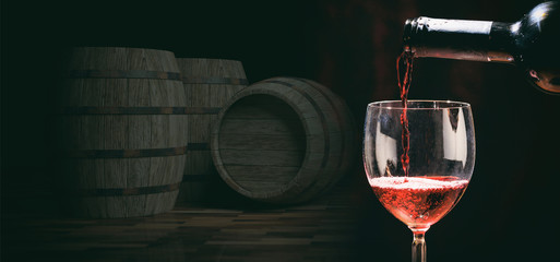 Glass of wine on dark background. 3d illustration