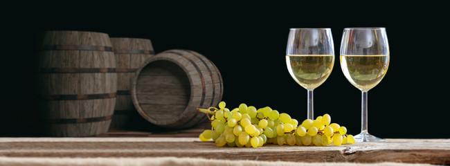Glasses of wine on dark background. 3d illustration
