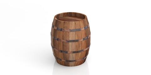 Wooden barrel on white background. 3d illustration