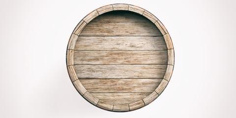 Wooden barrel on white background. 3d illustration Fototapete