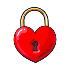 Traditional red heart shaped padlock for love lock unity ceremony, sketch style illustration isolated on white background. Realistic hand drawing of shiny red lock, padlock for wedding ceremony
