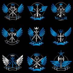 Vintage Weapon Emblems set. Heraldic signs vector vintage elemen