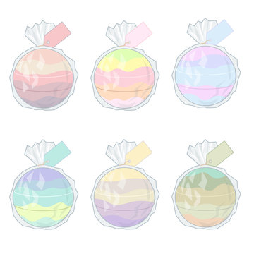 Colorful bath bombs wrapped in cello with badges vector illustration.