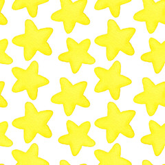 Stars. Seamless watercolor pattern