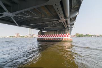Boat travel under bridge on the Chao Phraya river