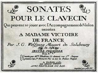"""Title page of Mozart's """"Sonates pour le clavecin"""" (Paris, 1764)"""