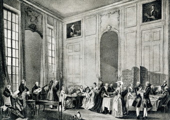 Wolfgang Mozart entertaining the court of Louis François, Prince of Conti in the Four-Mirror Salon of the Palais du Temple (Paris, 1766, by Michel-Barthélémy Olivier)
