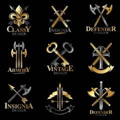 Vintage Weapon Emblems set. Heraldic Coat of Arms decorative emb
