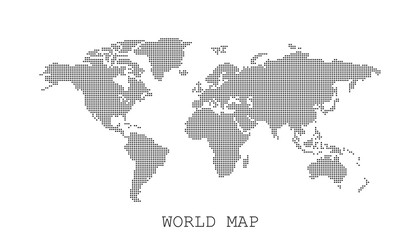 Dotted blank black world map isolated on white background. World map vector template for website, infographics, design. Flat earth world map with round dots illustration.