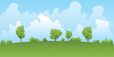 A cartoon backdrop landscape of a green field and trees with distant clouds in summer.