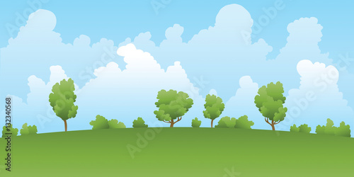 a cartoon backdrop landscape of a green field and trees with distant