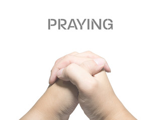 two hands in praying isolated on white background
