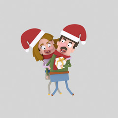 1Happy Couple with xmas giftEasy combine! Custom 3d illustration contact me!
