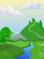 Summer vector landscape. Landscape for browser games.