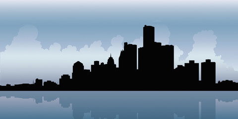 Skyline silhouette of the downtown of the city of Detroit, Michigan, USA.