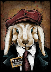 Rabbit mugshot, illustration