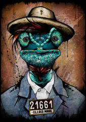 Gecko mugshot, illustration