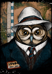 Owl mugshot, illustration