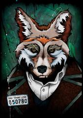 Fox mugshot, illustration