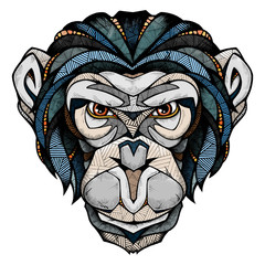 Chimp head, illustration