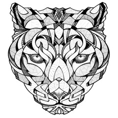 Leopard head, illustration, black and white