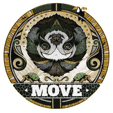 Sloth motif, illustration