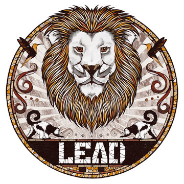 Lion motif, illustration