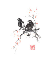Japanese style sumi-e two crows on blooming tree painting.