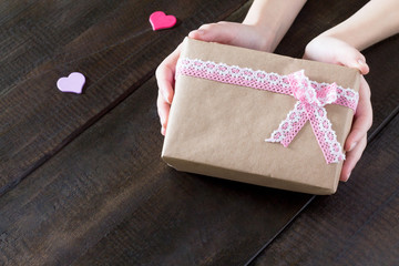 Background Valentine's Day. Valentine's Day gifts with a pink ri
