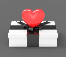 3D Isolated Red Hearth Box Gift Present Saint Valentine Romantic