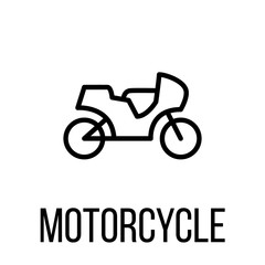 Motorcycle icon or logo in modern line style.