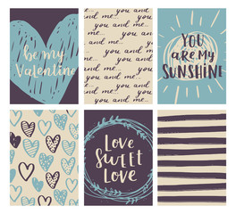 Vector set of Valentines Day greeting poster. Cute blue-beige colors for your invitation design. Card collection with hand drawn elements and romantic brush lettering.