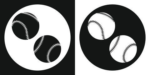 Baseball ball icon. Silhouette baseball ball on a black and white background. Sports Equipment. Vector Illustration.