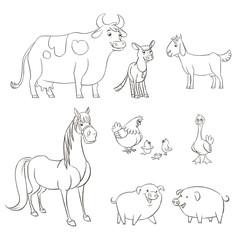 Farm animals cartoon character line drawing set