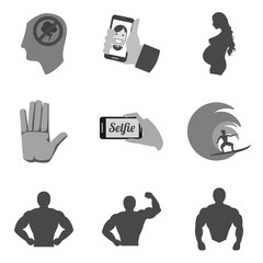 Set of people icons and symbols in trendy flat style isolated on