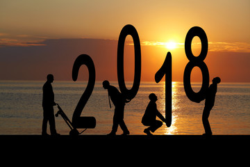 2018 years and silhouette man