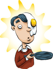 A cartoon man holding a frying pan with a fried egg on his face.