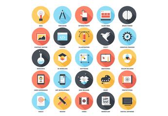 25 Circular Shadowed Design Icons
