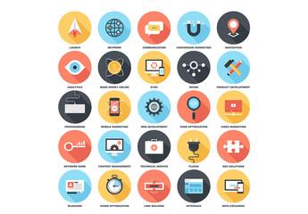 25 Circular Shadowed Networking and Web Icons