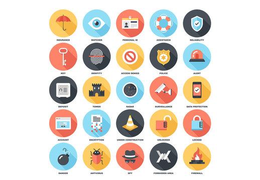 25 Circular Shadowed Security Icons